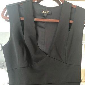 Black midi v neck dress